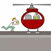 An image of a doctor deliverying a patient's organ to a helicopter.