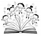 outlines of the figures cheerful children with books