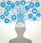 social network, communication in the global computer networks. silhouette of a human head with an in