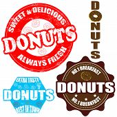 Set Of Donuts  Stamps And Label