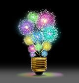 pic of firework display  - Creative Explosion as a fireworks display celebration represented by exploding sparks of color in the shape of a light bulb on black as a concept of innovation and creative power - JPG