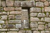 Inca window in a stone wall