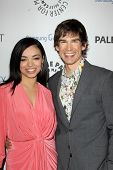 LOS ANGELES - FEB 27:  Anel Lopez Gorham, Christopher Gorham arrive at the PaleyFest Icon Award 2013