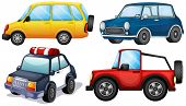 Illustration of the four different cars on a white background
