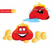 Cartoon Emotions Set - Funny Red Purses On White Background