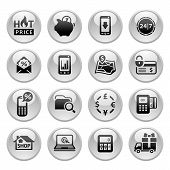 Shopping Icons, Gray round buttons new