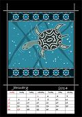 A Calender Based On Aboriginal Style Of Dot Painting Depicting Longneck Turtle