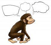 Illustratie van een aap denken op een witte achtergrond