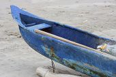 Bow of a Blue Fishing Boat