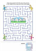 stock photo of quiz  - Easter maze game and coloring activity page for kids - JPG