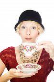 Beautiful lady portrait drinking tea