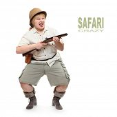 Funny picture of an angry safari hunter aiming with rifle.