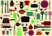cute kitchen pattern. Illustration of kitchen tools for cooking