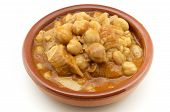 image of tripe  - Casserole typical tripe with chickpeas Spain surrounded by white background - JPG