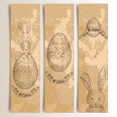 stock photo of dust bunny  - Retro hand drawn Easter bunny banners set - JPG