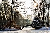 stock photo of old bridge  - Winter scene  - JPG