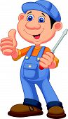 Cute mechanic cartoon holding a screwdriver and giving thumbs up