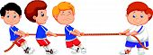 pic of tug-of-war  - Vector illustration of Cartoon Kids playing tug of war - JPG