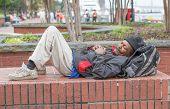 African American Homeless Man Sleeping
