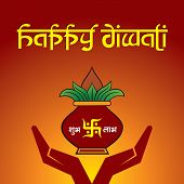 foto of kalash  - Illustration of diwali greeting background with mangal kalash - JPG