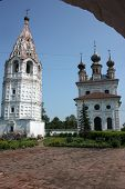 Michael the Archangel Cathedral and bell tower in the Monastery. Russia, Yuriev-Polsky.