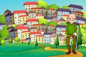 Illustration of a grandfather at the hilltop across the village