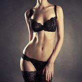 Photo of young slim woman in stylish lingerie