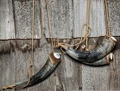 19th Century Gun-Powder Horns hanging on wall