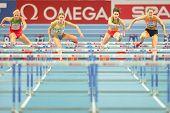GOTHENBURG, SWEDEN - MARCH 1  Remona Fransen (NL) wins heat 1 of the  pentathlon women's 60m hurdles event during the European Athletics Indoor Championship on March 1, 2013 in Gothenburg, Sweden.