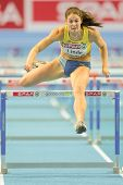 GOTHENBURG, SWEDEN - MARCH 1 Sofia Linde (Sweden) places 5th in heat 2 of the pentathlon women's 60m hurdles event during the Athletics Indoor Championship on March 1, 2013 in Gothenburg, Sweden.