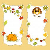 Happy Thanksgiving Day concept, Blank tag, sticker or label with pumpkin and maple leaves for your messages or wishes.