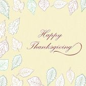 Happy Thanksgiving Day background with white leaves, can be use as banner, flyer or poster.