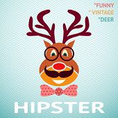 Portrait of funny vintage hipster deer with glasses, mustache an