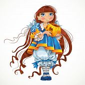 Pretty girl in blue dress with pumpkin