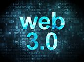 SEO web development concept: Web 3.0 on digital background