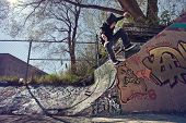 Skateboarder Doing A Wallie On A Graffiti Wall