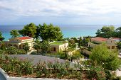 View On Beach And Villas At The Modern Luxury Hotel, Halkidiki, Greece