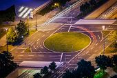Elevated view of German road junction. Munich, Bavaria, Germany,