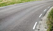 Turning Asphalt Road With Marking Lines