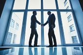 Silhouettes of two successful businessmen handshaking after striking deal
