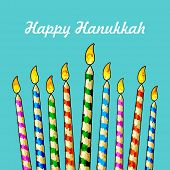 illustration of burning candle in Hanukkah Menorah with star of david