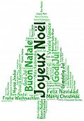 Joyeux noel and merry christmas 2014 tree word tag cloud