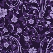 Seamless floral purple flower vector wallpaper pattern.