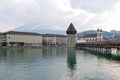 Chapel Bridge in Luzern andmark destination in Switzerland