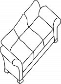 Isolated modern sofa- digitally drawn
