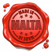 Made in Malta - Stamp on Red Wax Seal.