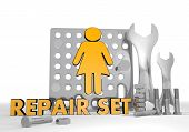 Illustration Of A Isolated Woman Pictogram Repair Set