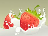 Milk splash with strawberry.