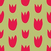 Seamless vector floral pattern with hand drawn red tulips on fresh spring green background