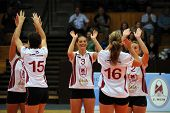 KAPOSVAR, HUNGARY - SEPTEMBER 20: Kaposvar players celebrate at the Hungarian I. League volleyball g